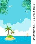 tropical island with yacht.... | Shutterstock .eps vector #1124155511