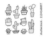 cactus doodle  hand draw vector ... | Shutterstock .eps vector #1124168897