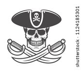 pirate skull with crossed... | Shutterstock .eps vector #1124185301