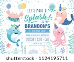 kids birthday party under the... | Shutterstock .eps vector #1124195711