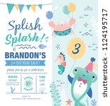 kids birthday party under the... | Shutterstock .eps vector #1124195717