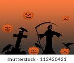 halloween with pumpkins and... | Shutterstock .eps vector #112420421