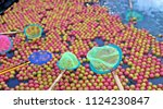 colorful ball lucky game in... | Shutterstock . vector #1124230847