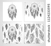 black and white feathers and... | Shutterstock .eps vector #1124233595