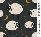 sheeps  hand drawn backdrop.... | Shutterstock .eps vector #1124240087