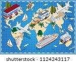 world map. travels. isometric.... | Shutterstock .eps vector #1124243117
