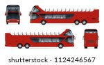 Open Tour Bus Vector Mockup On...
