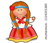 rag doll in the form of a girl...   Shutterstock .eps vector #1124251385