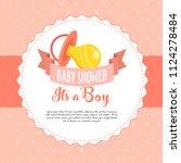 baby shower invite greeting...   Shutterstock .eps vector #1124278484