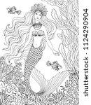 mermaid undersea  hand drawn... | Shutterstock .eps vector #1124290904