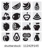 black vector fruits icon set on ... | Shutterstock .eps vector #112429145