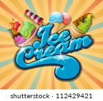 ice cream background  vintage... | Shutterstock .eps vector #112429421