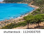 a paradise beach with... | Shutterstock . vector #1124303705