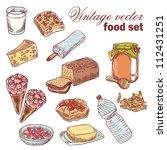 vintage hand drawn food set... | Shutterstock .eps vector #112431251