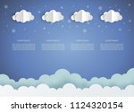 paper clouds and weather on... | Shutterstock .eps vector #1124320154