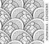 monochrome seamless pattern... | Shutterstock .eps vector #1124328365