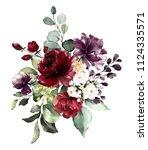 watercolor burgundy flowers.... | Shutterstock . vector #1124335571