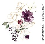 watercolor burgundy flowers.... | Shutterstock . vector #1124335574