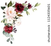 watercolor burgundy flowers.... | Shutterstock . vector #1124335601