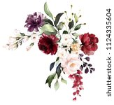 Stock photo  watercolor burgundy flowers floral illustration leaf and buds botanic composition for wedding 1124335604