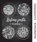 spaghetti  farfalle  penne... | Shutterstock .eps vector #1124353031