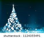 vector christmas tree greeting... | Shutterstock .eps vector #1124355491