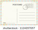 postcard template. old vintage... | Shutterstock .eps vector #1124357057