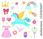 set with unicorn hearts dress... | Shutterstock .eps vector #1124365607