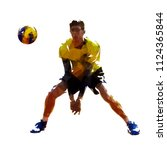 volleyball player  isolated low ... | Shutterstock .eps vector #1124365844