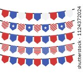 usa hanging bunting flags on... | Shutterstock .eps vector #1124372024