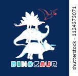 hand drawing dinosaurs... | Shutterstock .eps vector #1124373071
