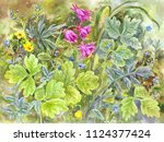 forget me nots and delphiniums  ... | Shutterstock . vector #1124377424