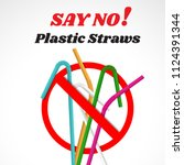 say no disposable plastic... | Shutterstock .eps vector #1124391344