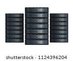 three server racks with... | Shutterstock .eps vector #1124396204
