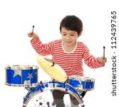 asian young boy playing blue... | Shutterstock . vector #112439765