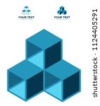 three box blue set icon... | Shutterstock .eps vector #1124405291
