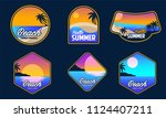 a set beach adventure logo...   Shutterstock .eps vector #1124407211