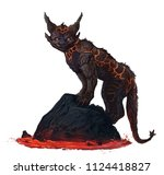 Cat Creature Made Of Lava Rock...