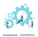 business people with gears.... | Shutterstock .eps vector #1124429111