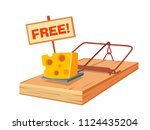 mousetrap with a piece of... | Shutterstock .eps vector #1124435204