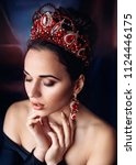 beautiful woman model with... | Shutterstock . vector #1124446175