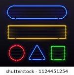 realistic neon frame. shiny... | Shutterstock .eps vector #1124451254