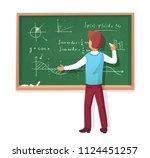 teacher write on blackboard... | Shutterstock .eps vector #1124451257