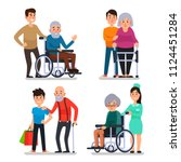 help old disabled people.... | Shutterstock .eps vector #1124451284