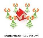 stylized antennas around small... | Shutterstock . vector #112445294