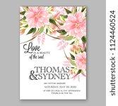 floral japanese pink sakura...   Shutterstock .eps vector #1124460524