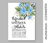 floral blue sakura wedding... | Shutterstock .eps vector #1124460554