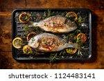 grilled  fish  sea bream ...   Shutterstock . vector #1124483141