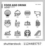 food and drink icon set | Shutterstock .eps vector #1124485757