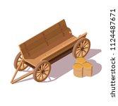 old wooden van with bags of... | Shutterstock .eps vector #1124487671